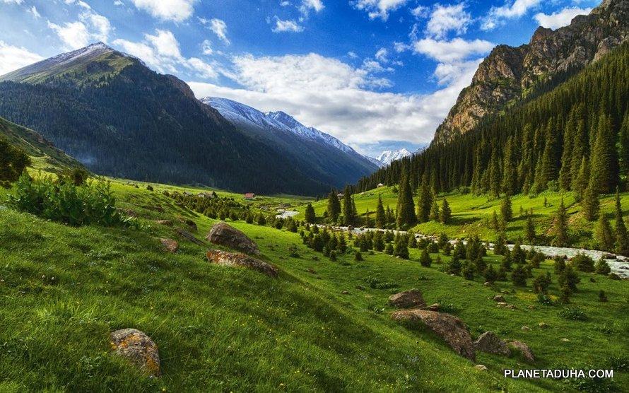 Долина ущелья Алтын-Арашан (на заднем плане курорт Алтын-Арашан)