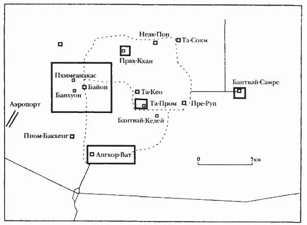 Точная схема расположения основных храмов Ангкора