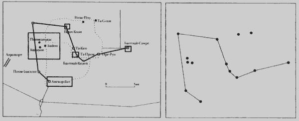 Сравнения схемы расположения храмов Ангкора и звезд созвездия Дракона